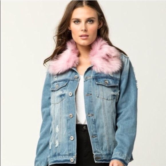 1ca914c994 Removable fur collar Jean denim jacket